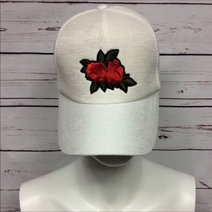 Accessories - Embroidered Red Rose Floral Snap Back Baseball Cap